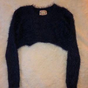 Ambiance Cropped Fuzzy Knit Sweater